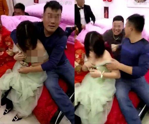 Phù dâu trẻ vùng vẫy thoát thân vì bị bạn chú rể sàm sỡ vòng 1 trong đám cưới-1
