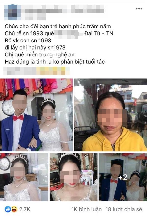 Xôn xao chú rể sinh năm 1993 ở Thái Nguyên bỏ vợ trẻ, cưới người yêu hơn 20 tuổi-1