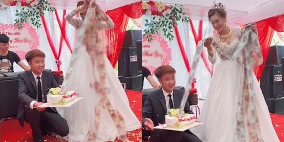 Xuýt xoa cô dâu trẻ cổ đeo đầy vàng còn được chồng tặng bánh kem ngập tiền ở đám cưới-2