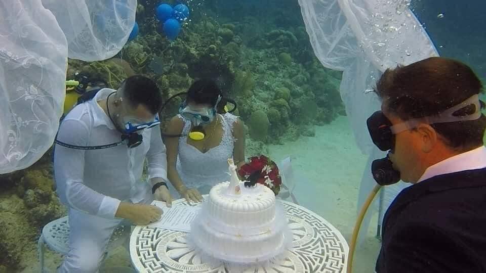 Đám cưới 1-0-2: Đáy biển thành lễ đường, cô dâu chú rể thề mãi yêu qua bình dưỡng khí-3