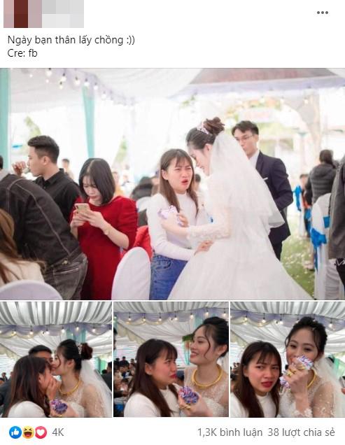 Cô gái ôm cô dâu khóc như mưa ở đám cưới, nguyên nhân phía sau mới bất ngờ-1